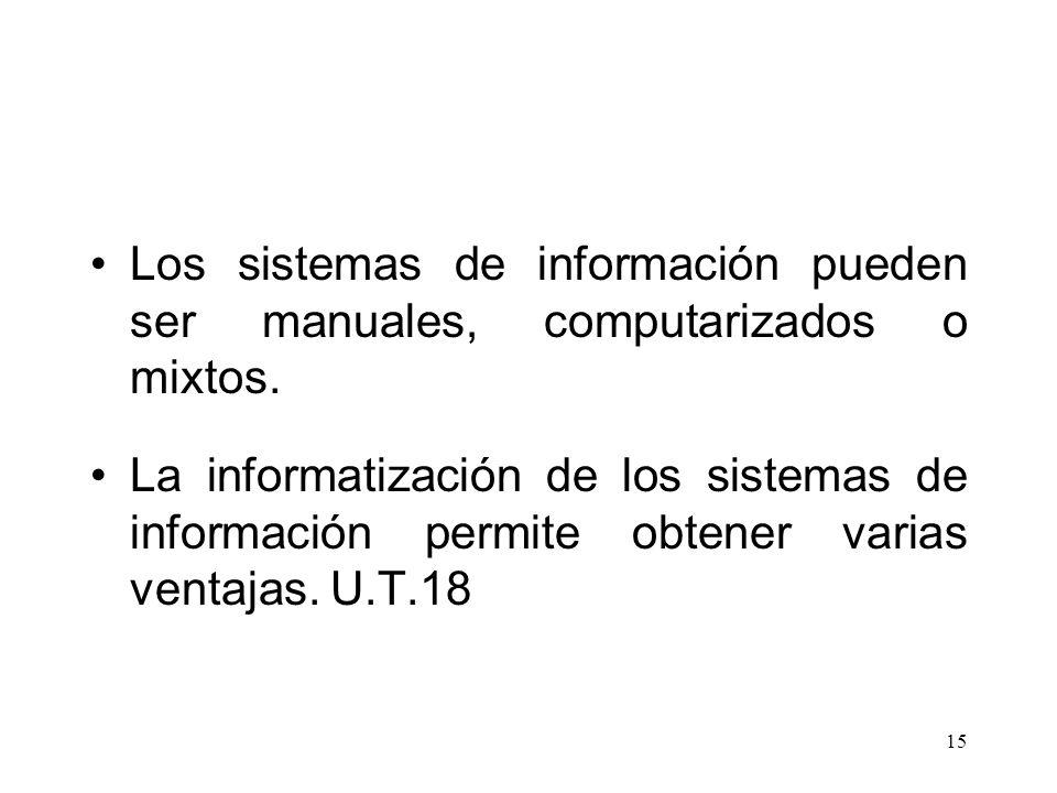 15 Los sistemas de información pueden ser manuales, computarizados o mixtos. La informatización de los sistemas de información permite obtener varias