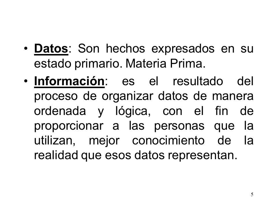 5 Datos: Son hechos expresados en su estado primario. Materia Prima. Información: es el resultado del proceso de organizar datos de manera ordenada y