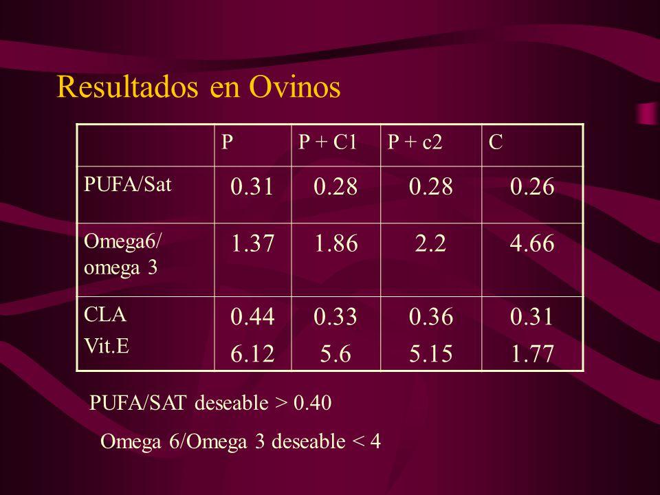 Resultados en Ovinos PP + C1P + c2C PUFA/Sat 0.310.28 0.26 Omega6/ omega 3 1.371.862.24.66 CLA Vit.E 0.44 6.12 0.33 5.6 0.36 5.15 0.31 1.77 PUFA/SAT d