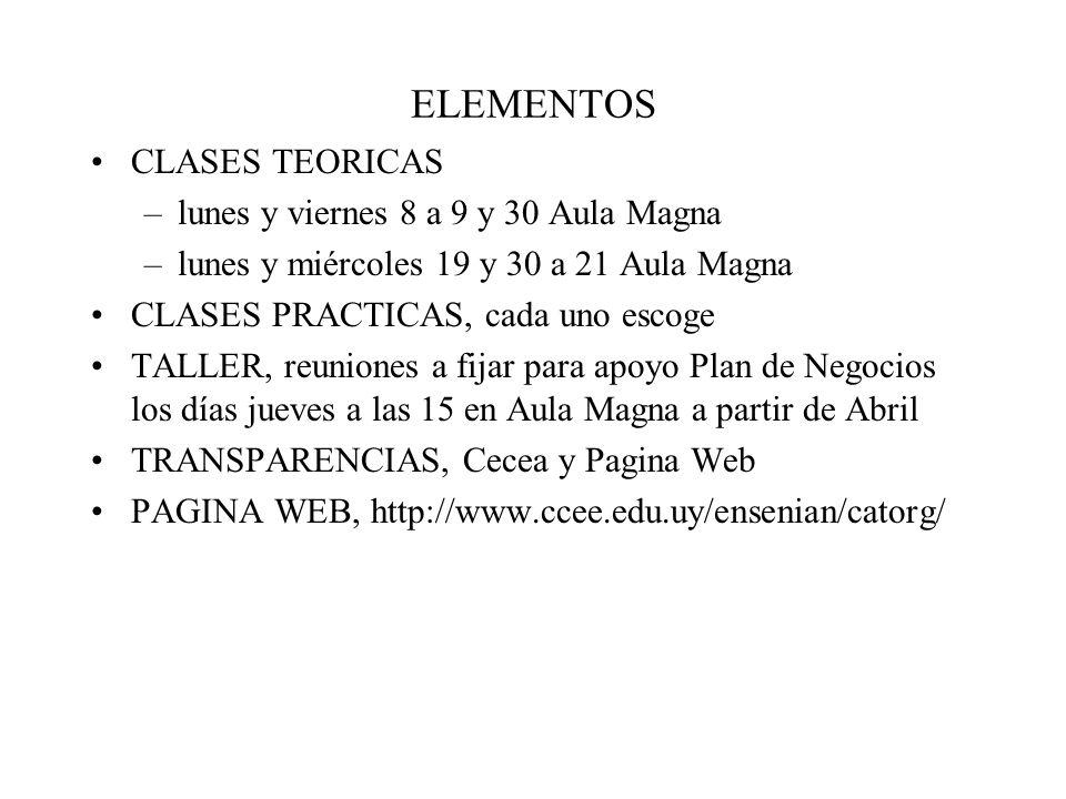 ELEMENTOS CLASES TEORICAS –lunes y viernes 8 a 9 y 30 Aula Magna –lunes y miércoles 19 y 30 a 21 Aula Magna CLASES PRACTICAS, cada uno escoge TALLER, reuniones a fijar para apoyo Plan de Negocios los días jueves a las 15 en Aula Magna a partir de Abril TRANSPARENCIAS, Cecea y Pagina Web PAGINA WEB, http://www.ccee.edu.uy/ensenian/catorg/