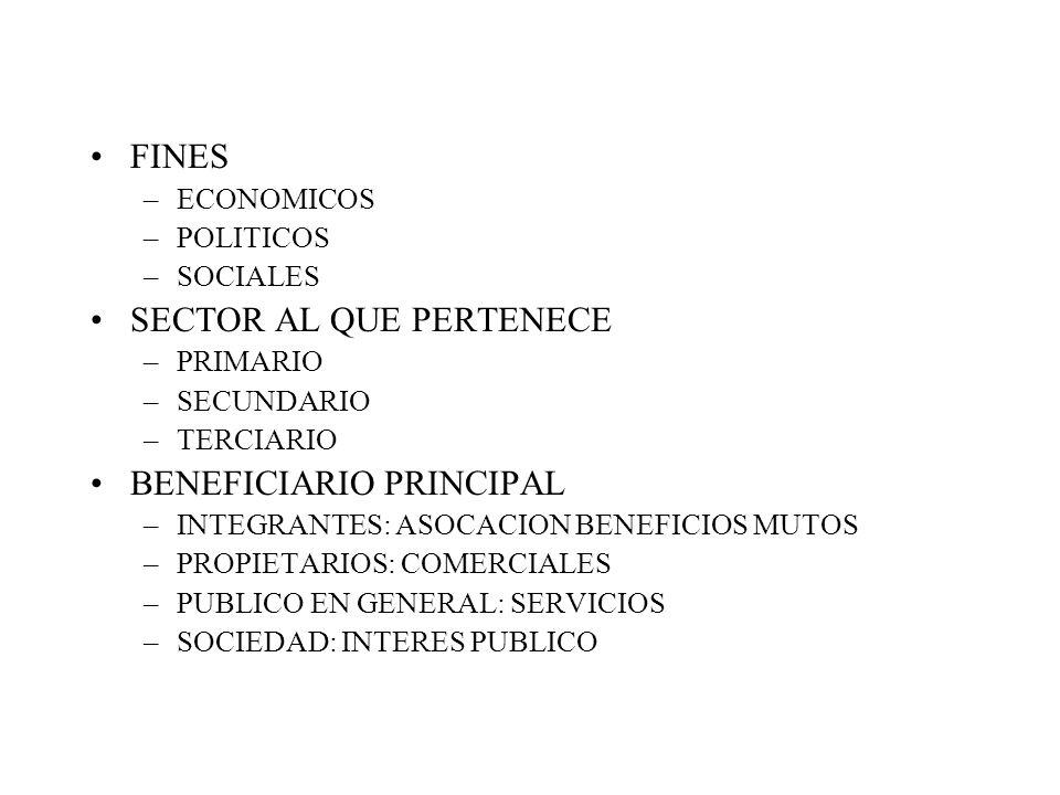 FINES –ECONOMICOS –POLITICOS –SOCIALES SECTOR AL QUE PERTENECE –PRIMARIO –SECUNDARIO –TERCIARIO BENEFICIARIO PRINCIPAL –INTEGRANTES: ASOCACION BENEFICIOS MUTOS –PROPIETARIOS: COMERCIALES –PUBLICO EN GENERAL: SERVICIOS –SOCIEDAD: INTERES PUBLICO