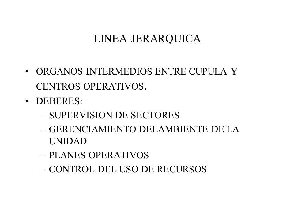 LINEA JERARQUICA ORGANOS INTERMEDIOS ENTRE CUPULA Y CENTROS OPERATIVOS.