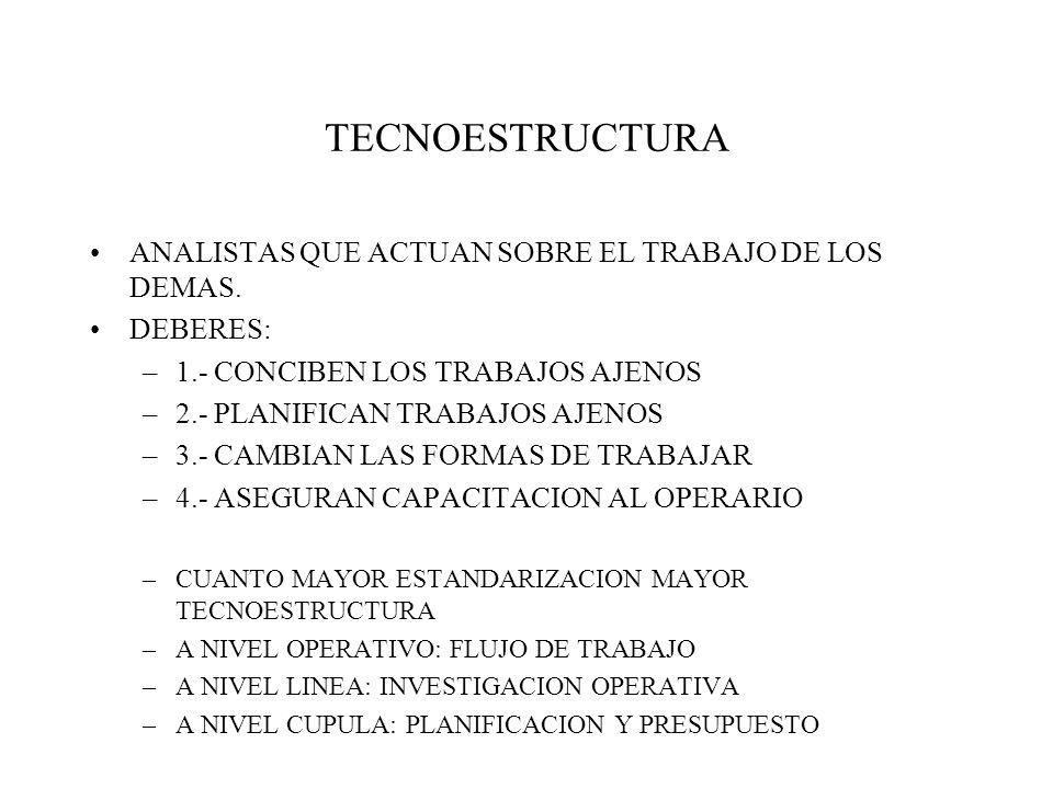 TECNOESTRUCTURA ANALISTAS QUE ACTUAN SOBRE EL TRABAJO DE LOS DEMAS.