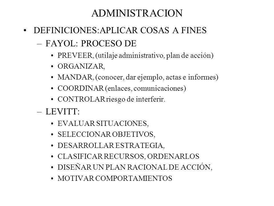 ADMINISTRACION DEFINICIONES:APLICAR COSAS A FINES –FAYOL: PROCESO DE PREVEER, (utilaje administrativo, plan de acción) ORGANIZAR, MANDAR, (conocer, da