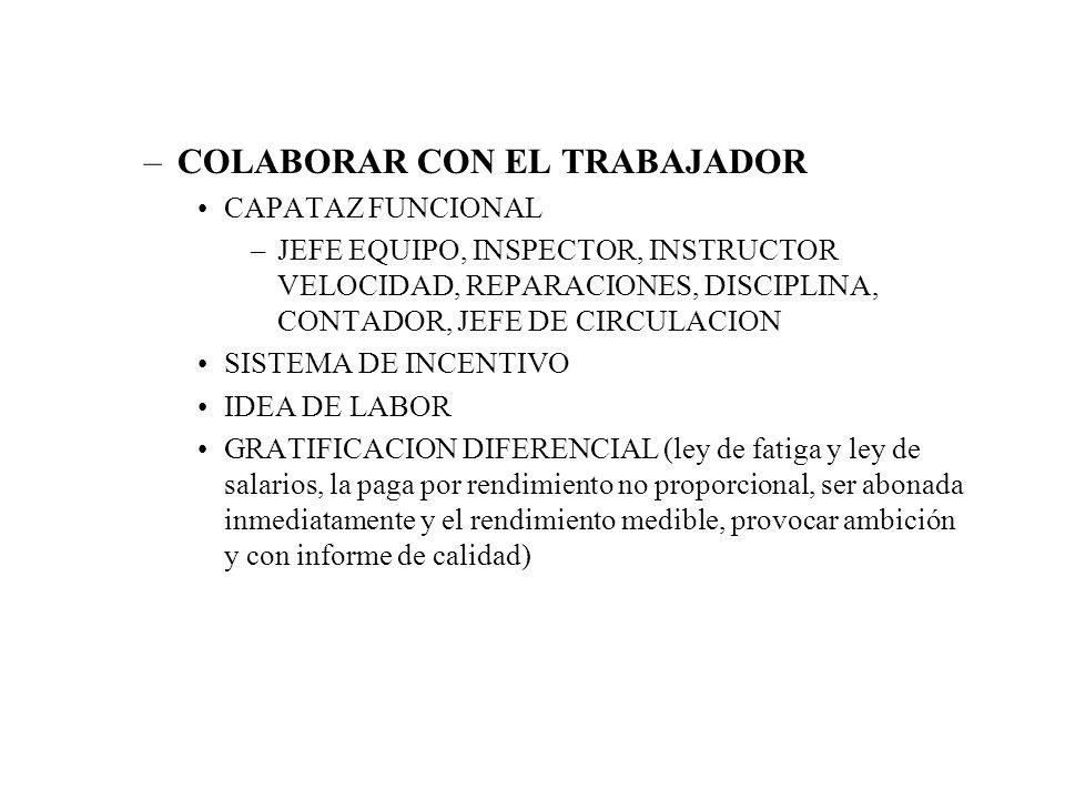 –COLABORAR CON EL TRABAJADOR CAPATAZ FUNCIONAL –JEFE EQUIPO, INSPECTOR, INSTRUCTOR VELOCIDAD, REPARACIONES, DISCIPLINA, CONTADOR, JEFE DE CIRCULACION SISTEMA DE INCENTIVO IDEA DE LABOR GRATIFICACION DIFERENCIAL (ley de fatiga y ley de salarios, la paga por rendimiento no proporcional, ser abonada inmediatamente y el rendimiento medible, provocar ambición y con informe de calidad)
