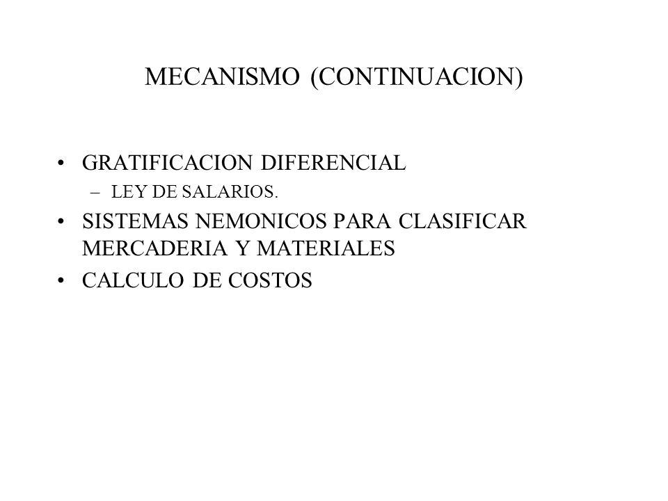MECANISMO (CONTINUACION) GRATIFICACION DIFERENCIAL –LEY DE SALARIOS. SISTEMAS NEMONICOS PARA CLASIFICAR MERCADERIA Y MATERIALES CALCULO DE COSTOS