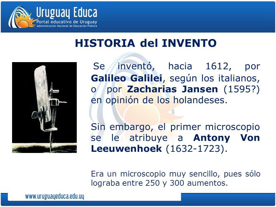 HISTORIA del INVENTO Se inventó, hacia 1612, por Galileo Galilei, según los italianos, o por Zacharias Jansen (1595?) en opinión de los holandeses.