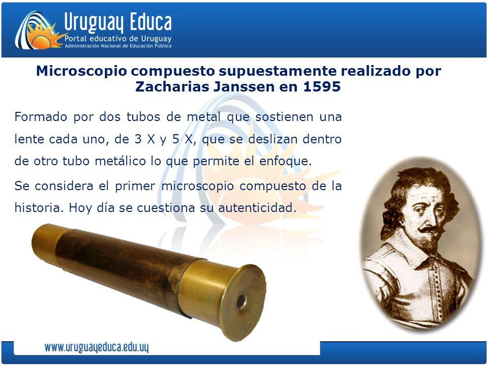 Microscopio compuesto supuestamente realizado por Zacharias Janssen en 1595 Formado por dos tubos de metal que sostienen una lente cada uno, de 3 X y 5 X, que se deslizan dentro de otro tubo metálico lo que permite el enfoque.