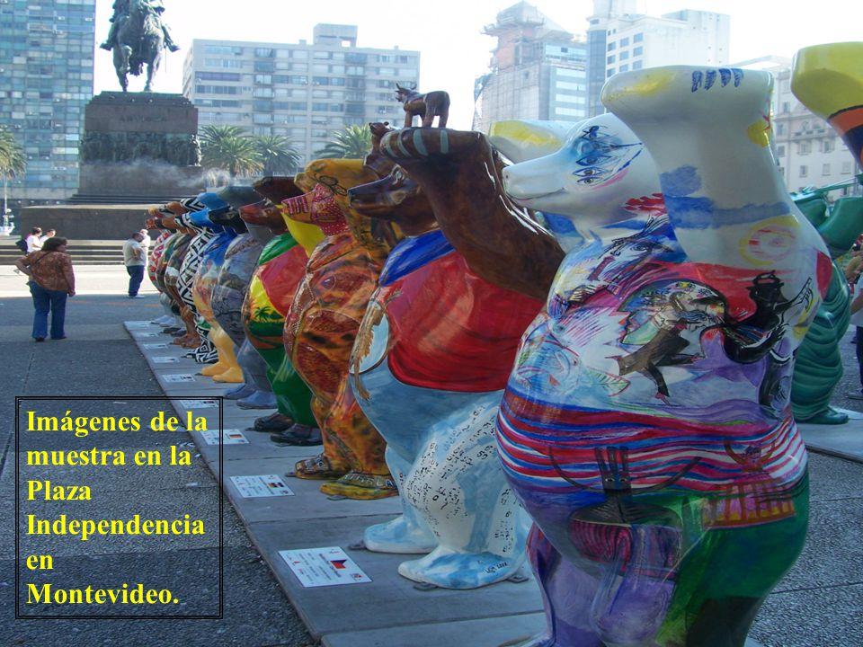 Imágenes de la muestra en la Plaza Independencia en Montevideo.