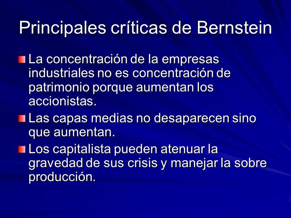Principales críticas de Bernstein La concentración de la empresas industriales no es concentración de patrimonio porque aumentan los accionistas. Las