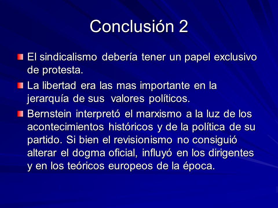 Conclusión 2 El sindicalismo debería tener un papel exclusivo de protesta. La libertad era las mas importante en la jerarquía de sus valores políticos