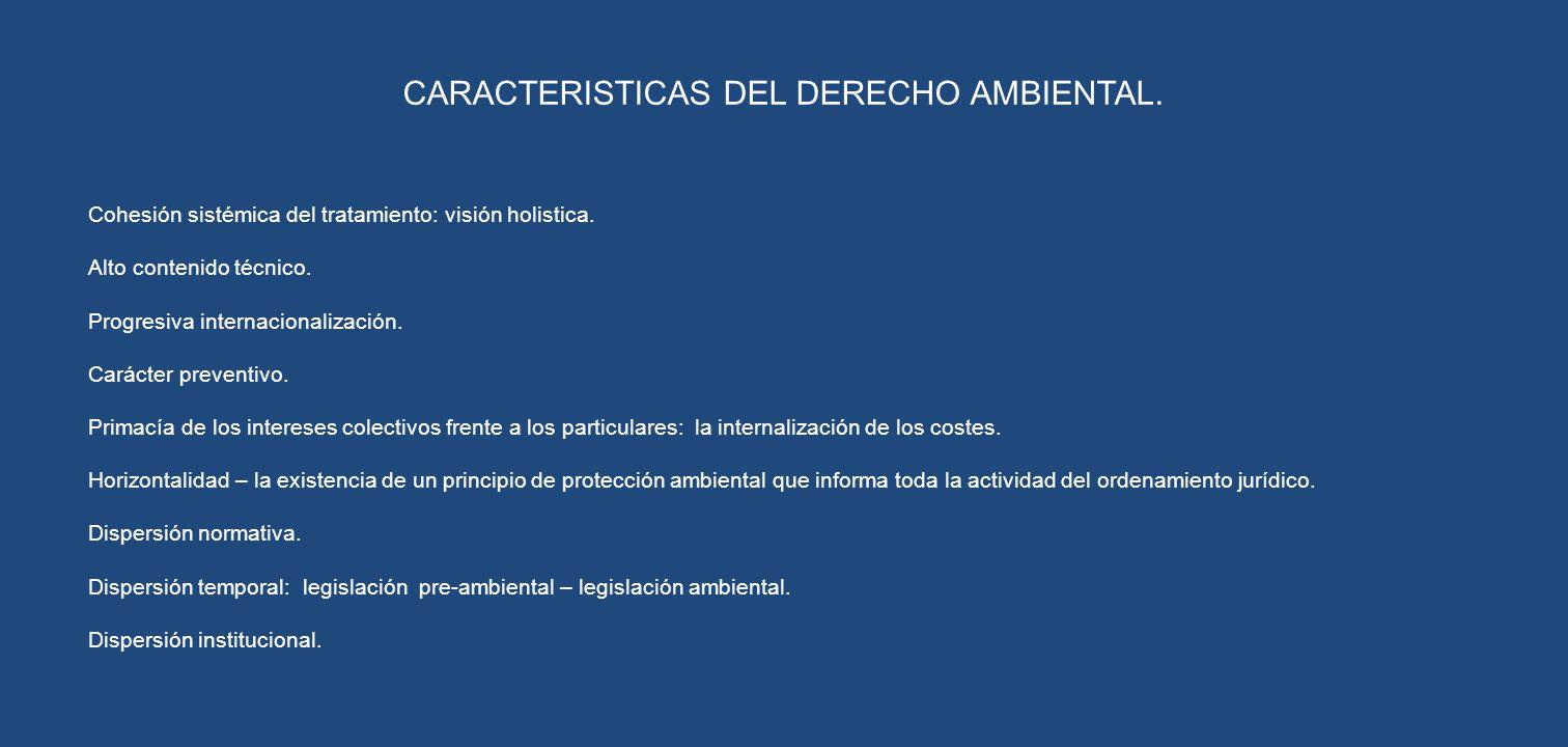 CARACTERISTICAS DEL DERECHO AMBIENTAL. Cohesión sistémica del tratamiento: visión holistica. Alto contenido técnico. Progresiva internacionalización.