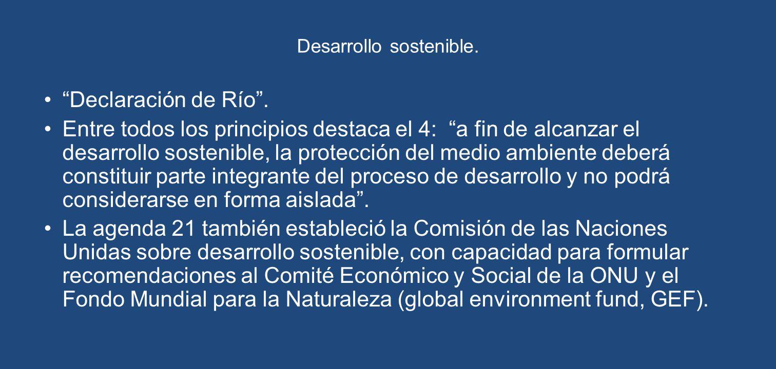 Desarrollo sostenible. Declaración de Río. Entre todos los principios destaca el 4: a fin de alcanzar el desarrollo sostenible, la protección del medi