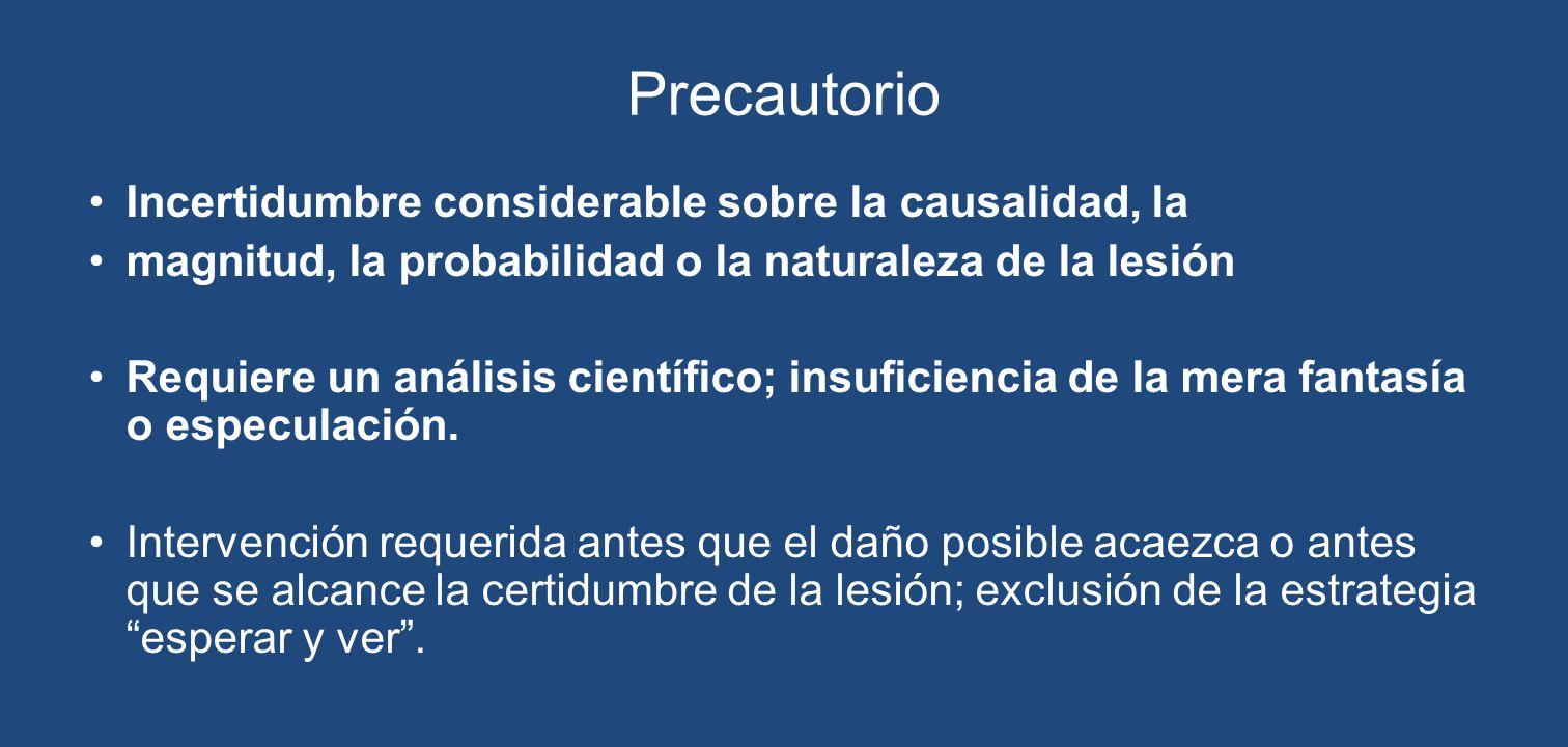 Precautorio Incertidumbre considerable sobre la causalidad, la magnitud, la probabilidad o la naturaleza de la lesión Requiere un análisis científico;
