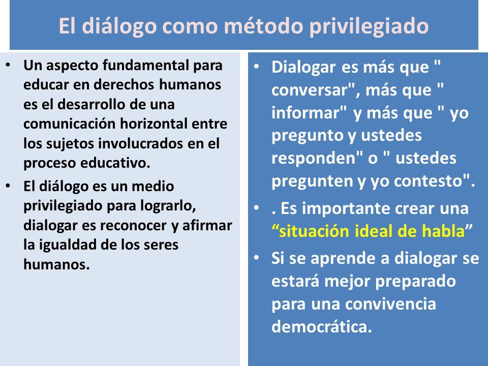 El diálogo como método privilegiado Un aspecto fundamental para educar en derechos humanos es el desarrollo de una comunicación horizontal entre los s