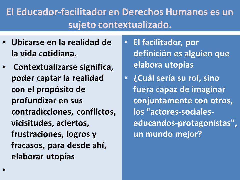 El Educador-facilitador en Derechos Humanos es un sujeto contextualizado. Ubicarse en la realidad de la vida cotidiana. Contextualizarse significa, po