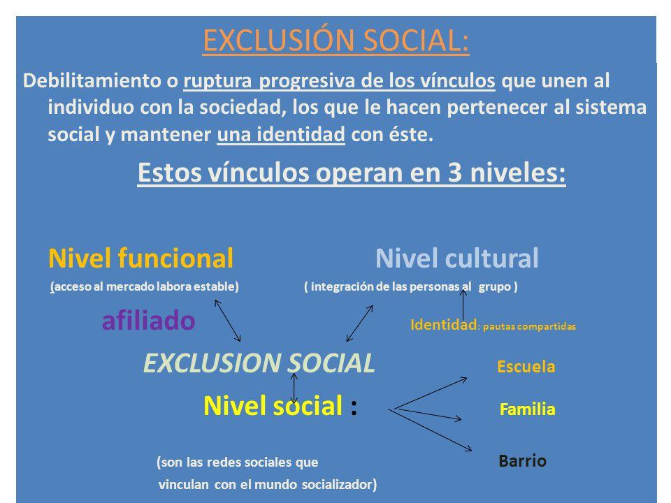 EXCLUSIÓN SOCIAL: Debilitamiento o ruptura progresiva de los vínculos que unen al individuo con la sociedad, los que le hacen pertenecer al sistema so