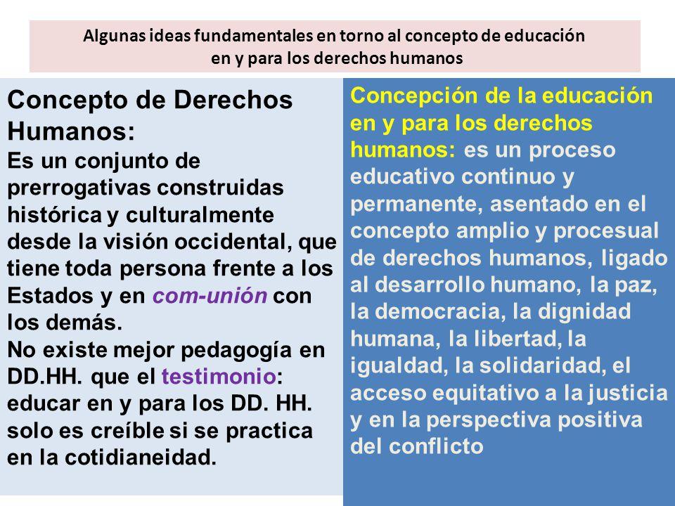 Algunas ideas fundamentales en torno al concepto de educación en y para los derechos humanos Concepto de Derechos Humanos: Es un conjunto de prerrogat