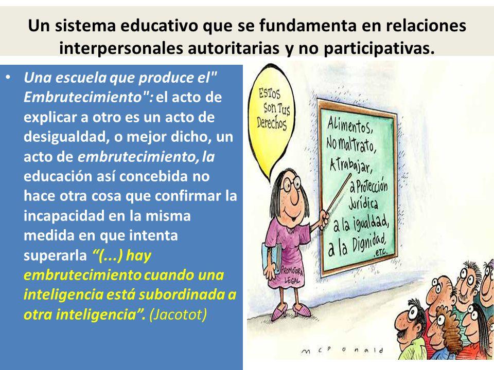 Un sistema educativo que se fundamenta en relaciones interpersonales autoritarias y no participativas. Una escuela que produce el