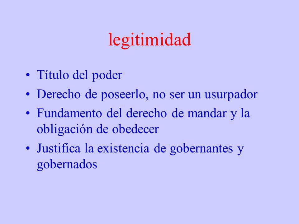legitimidad Título del poder Derecho de poseerlo, no ser un usurpador Fundamento del derecho de mandar y la obligación de obedecer Justifica la existe