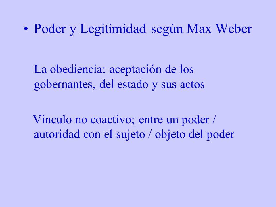 Poder y Legitimidad según Max Weber La obediencia: aceptación de los gobernantes, del estado y sus actos Vínculo no coactivo; entre un poder / autorid