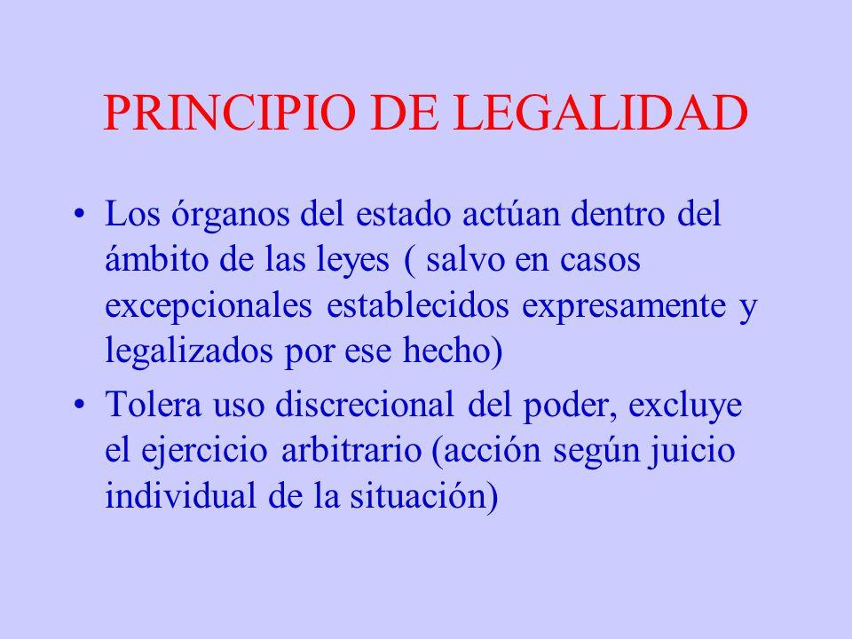 PRINCIPIO DE LEGALIDAD Los órganos del estado actúan dentro del ámbito de las leyes ( salvo en casos excepcionales establecidos expresamente y legaliz