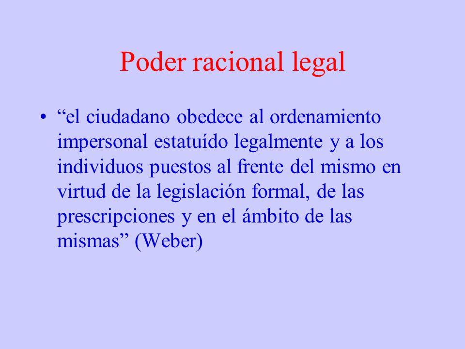 Poder racional legal el ciudadano obedece al ordenamiento impersonal estatuído legalmente y a los individuos puestos al frente del mismo en virtud de