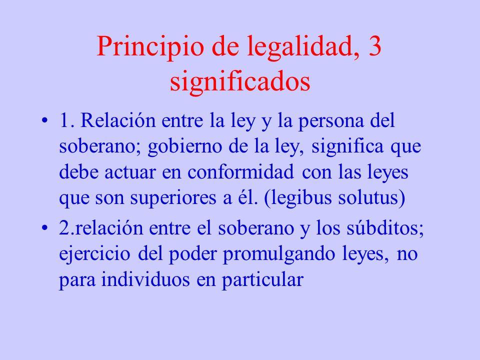 Principio de legalidad, 3 significados 1. Relación entre la ley y la persona del soberano; gobierno de la ley, significa que debe actuar en conformida