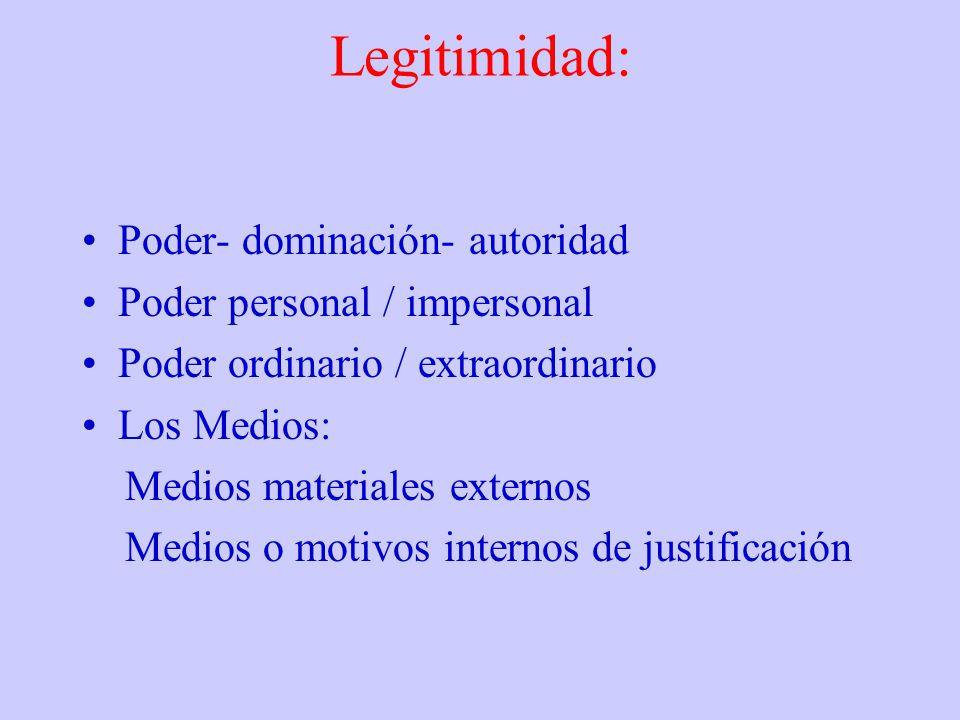 Legitimidad: Poder- dominación- autoridad Poder personal / impersonal Poder ordinario / extraordinario Los Medios: Medios materiales externos Medios o
