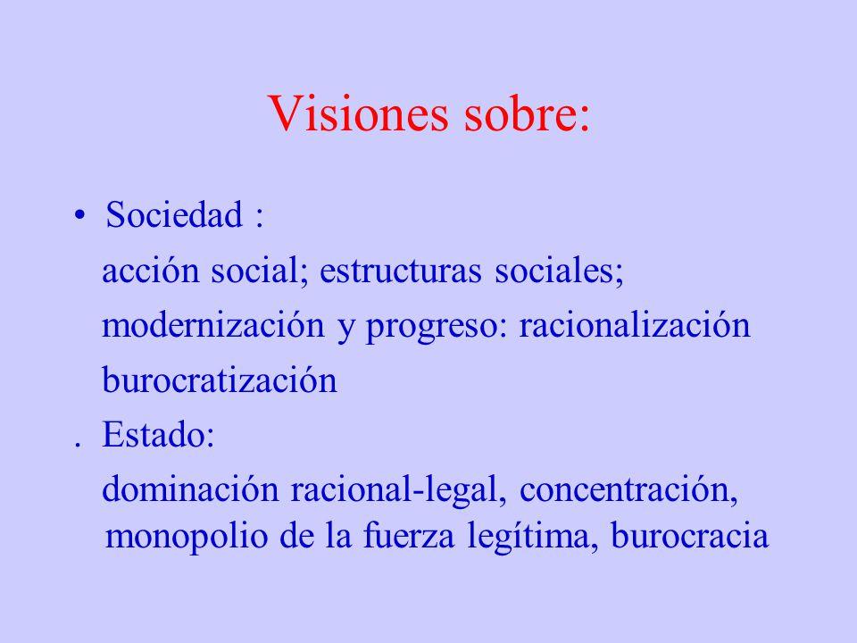 Visiones sobre: Sociedad : acción social; estructuras sociales; modernización y progreso: racionalización burocratización. Estado: dominación racional