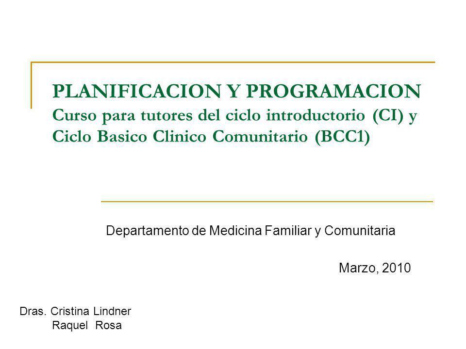 PLANIFICACION Y PROGRAMACION Curso para tutores del ciclo introductorio (CI) y Ciclo Basico Clinico Comunitario (BCC1) Departamento de Medicina Famili