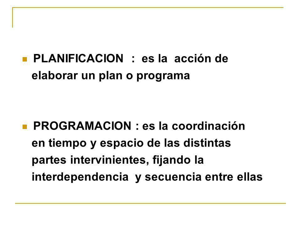 PLANIFICACION : es la acción de elaborar un plan o programa PROGRAMACION : es la coordinación en tiempo y espacio de las distintas partes intervinient