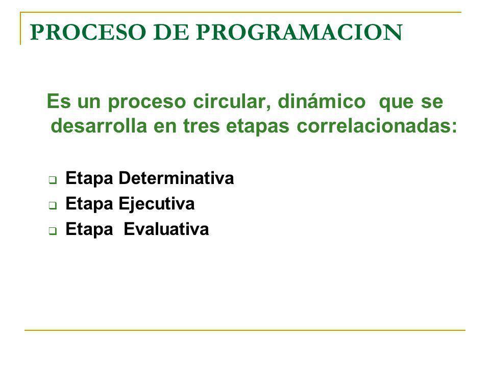 PROCESO DE PROGRAMACION Es un proceso circular, dinámico que se desarrolla en tres etapas correlacionadas: Etapa Determinativa Etapa Ejecutiva Etapa E