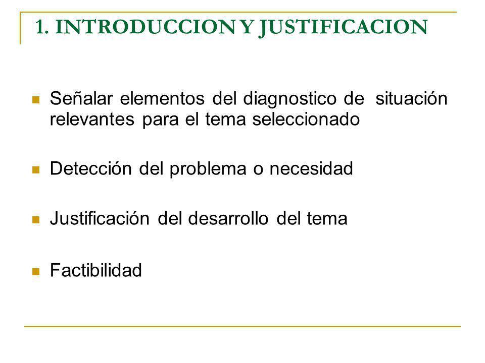 1. INTRODUCCION Y JUSTIFICACION Señalar elementos del diagnostico de situación relevantes para el tema seleccionado Detección del problema o necesidad