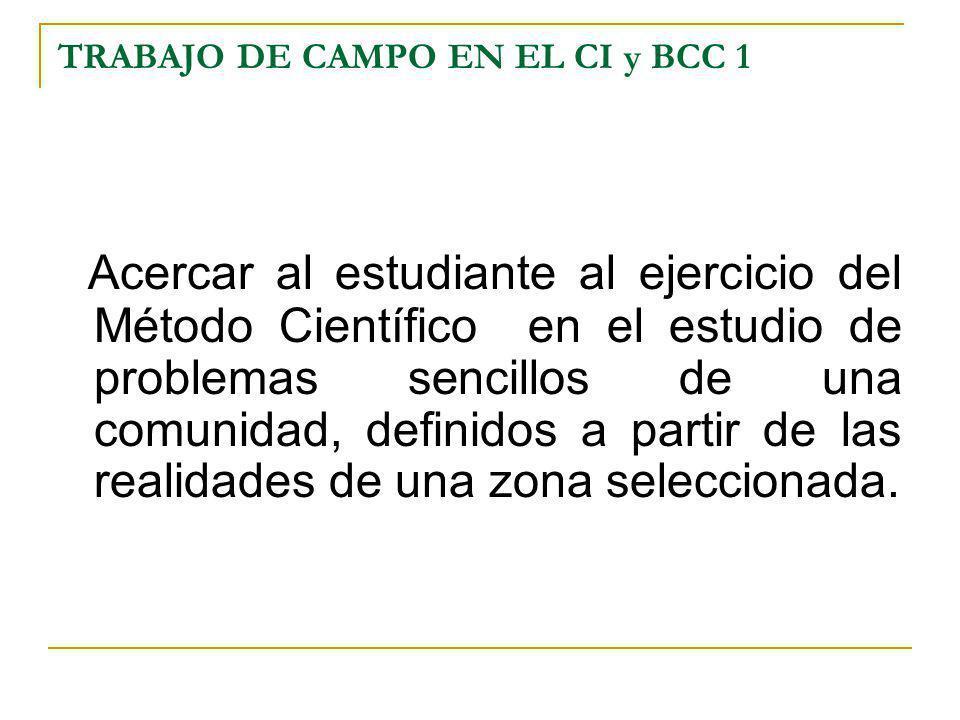 TRABAJO DE CAMPO EN EL CI y BCC 1 Acercar al estudiante al ejercicio del Método Científico en el estudio de problemas sencillos de una comunidad, defi