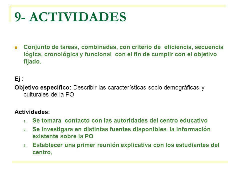 9- ACTIVIDADES Conjunto de tareas, combinadas, con criterio de eficiencia, secuencia lógica, cronológica y funcional con el fin de cumplir con el obje