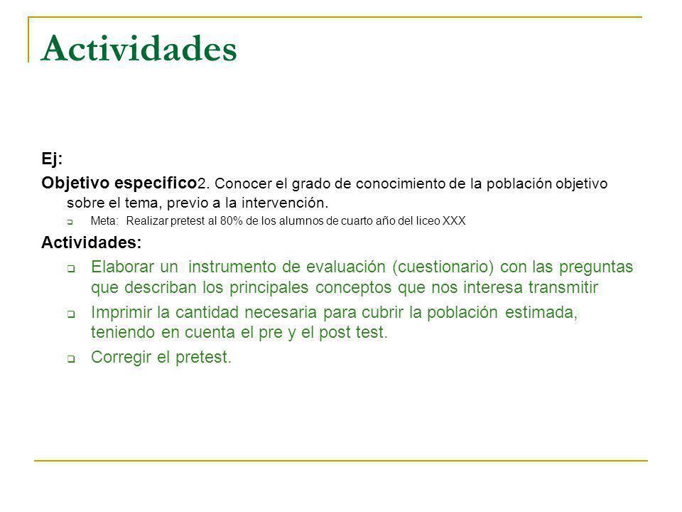 Actividades Ej: Objetivo especifico 2. Conocer el grado de conocimiento de la población objetivo sobre el tema, previo a la intervención. Meta: Realiz