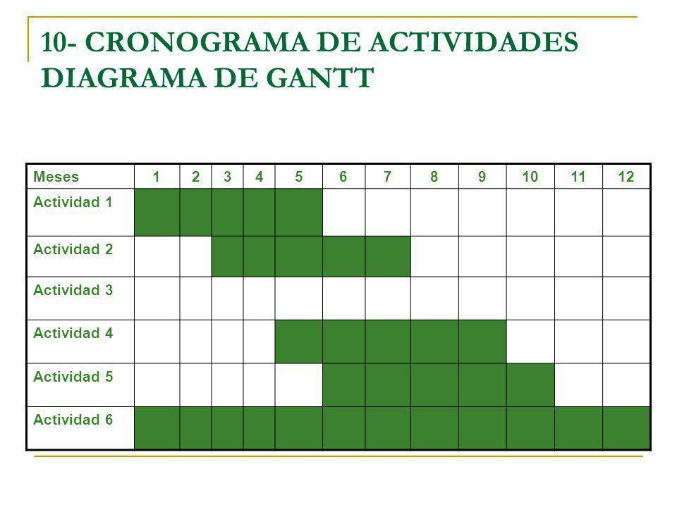 10- CRONOGRAMA DE ACTIVIDADES DIAGRAMA DE GANTT Meses 123456789101112 Actividad 1 Actividad 2 Actividad 3 Actividad 4 Actividad 5 Actividad 6