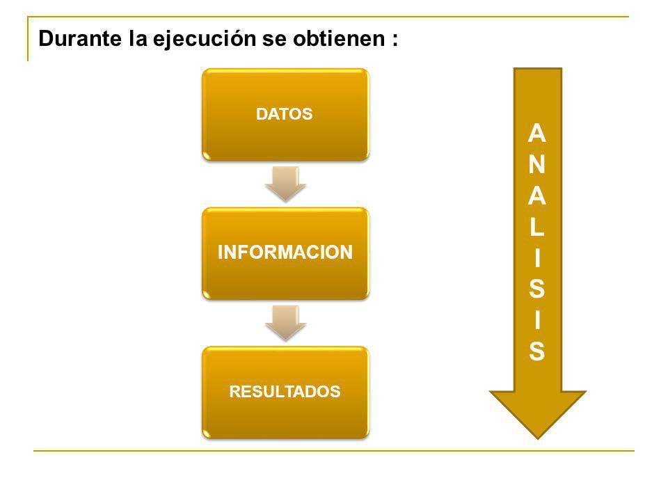 Durante la ejecución se obtienen : DATOS INFORMACION RESULTADOS ANALISISANALISIS