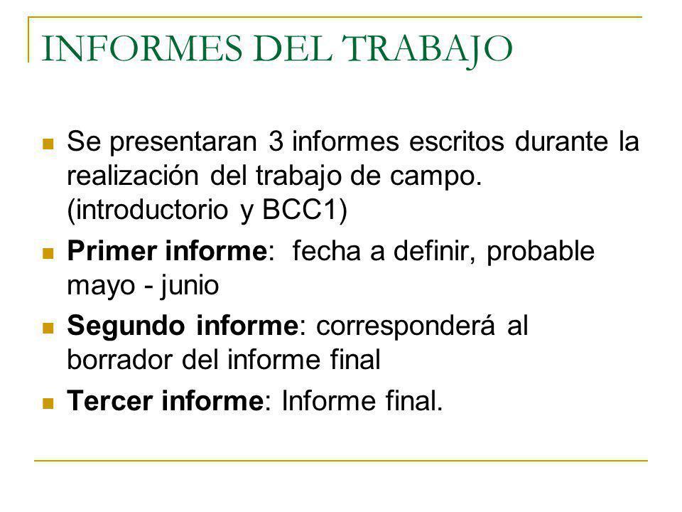INFORMES DEL TRABAJO Se presentaran 3 informes escritos durante la realización del trabajo de campo. (introductorio y BCC1) Primer informe: fecha a de