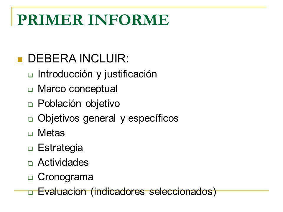 PRIMER INFORME DEBERA INCLUIR: Introducción y justificación Marco conceptual Población objetivo Objetivos general y específicos Metas Estrategia Activ