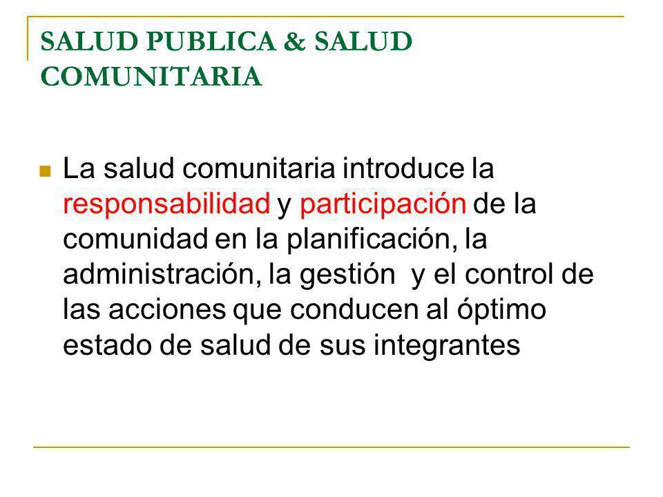SALUD PUBLICA & SALUD COMUNITARIA La salud comunitaria introduce la responsabilidad y participación de la comunidad en la planificación, la administra