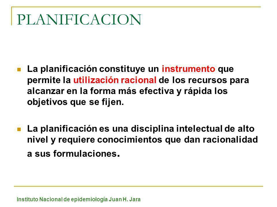 PLANIFICACION La planificación constituye un instrumento que permite la utilización racional de los recursos para alcanzar en la forma más efectiva y