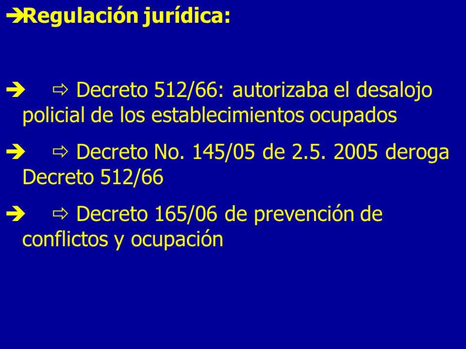 Regulación jurídica: Decreto 512/66: autorizaba el desalojo policial de los establecimientos ocupados Decreto No.