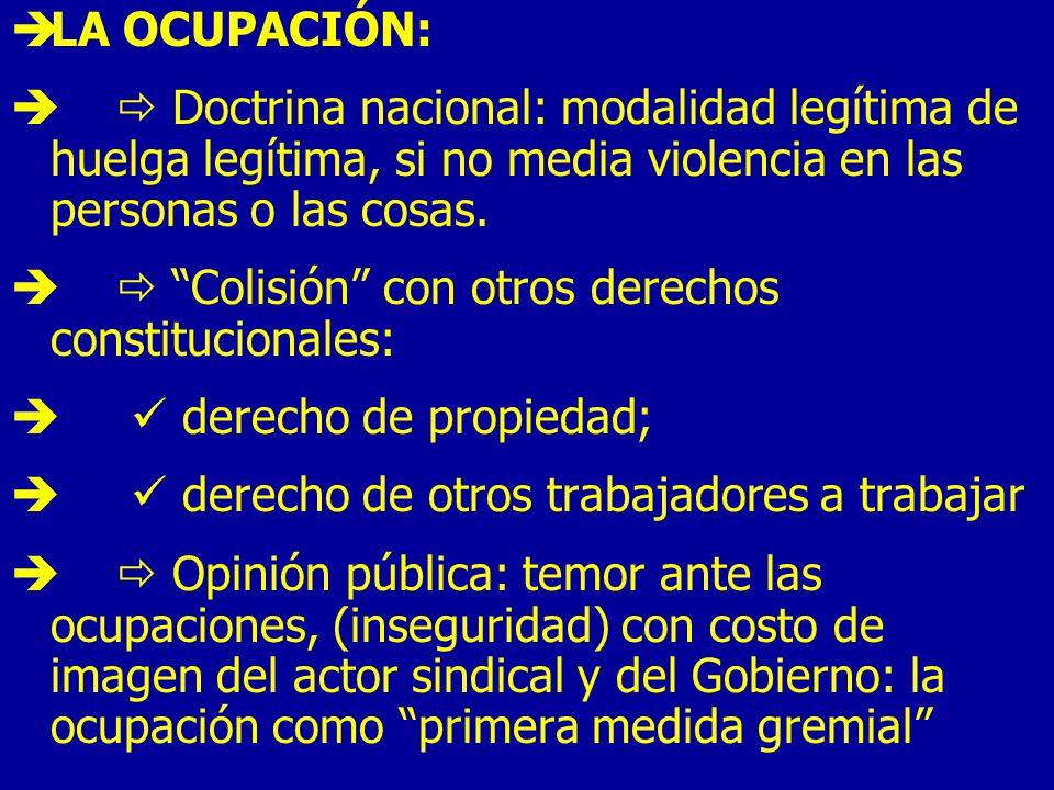 LA OCUPACIÓN: Doctrina nacional: modalidad legítima de huelga legítima, si no media violencia en las personas o las cosas.