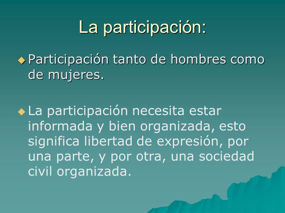 La participación: Participación tanto de hombres como de mujeres. Participación tanto de hombres como de mujeres. La participación necesita estar info