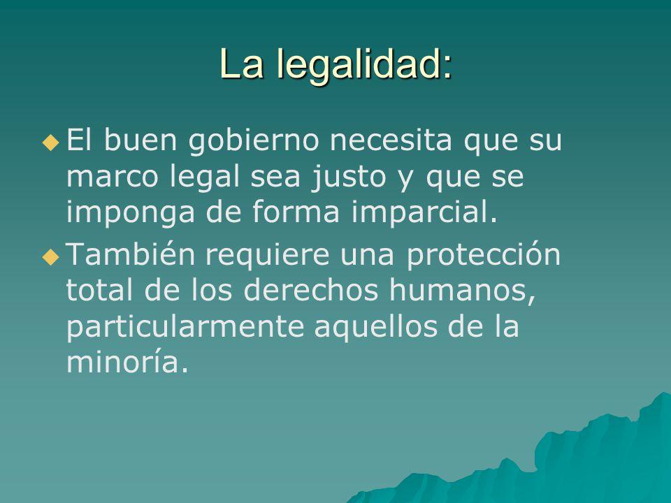 La legalidad: El buen gobierno necesita que su marco legal sea justo y que se imponga de forma imparcial. También requiere una protección total de los