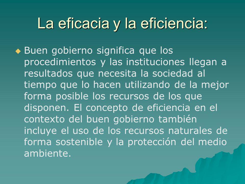 La eficacia y la eficiencia: Buen gobierno significa que los procedimientos y las instituciones llegan a resultados que necesita la sociedad al tiempo