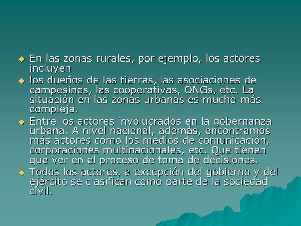 En las zonas rurales, por ejemplo, los actores incluyen En las zonas rurales, por ejemplo, los actores incluyen los dueños de las tierras, las asociac