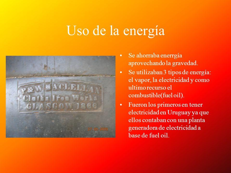 Uso de la energía Se ahorraba enerrgía aprovechando la gravedad. Se utilizaban 3 tipos de energía: el vapor, la electricidad y como ultimo recurso el